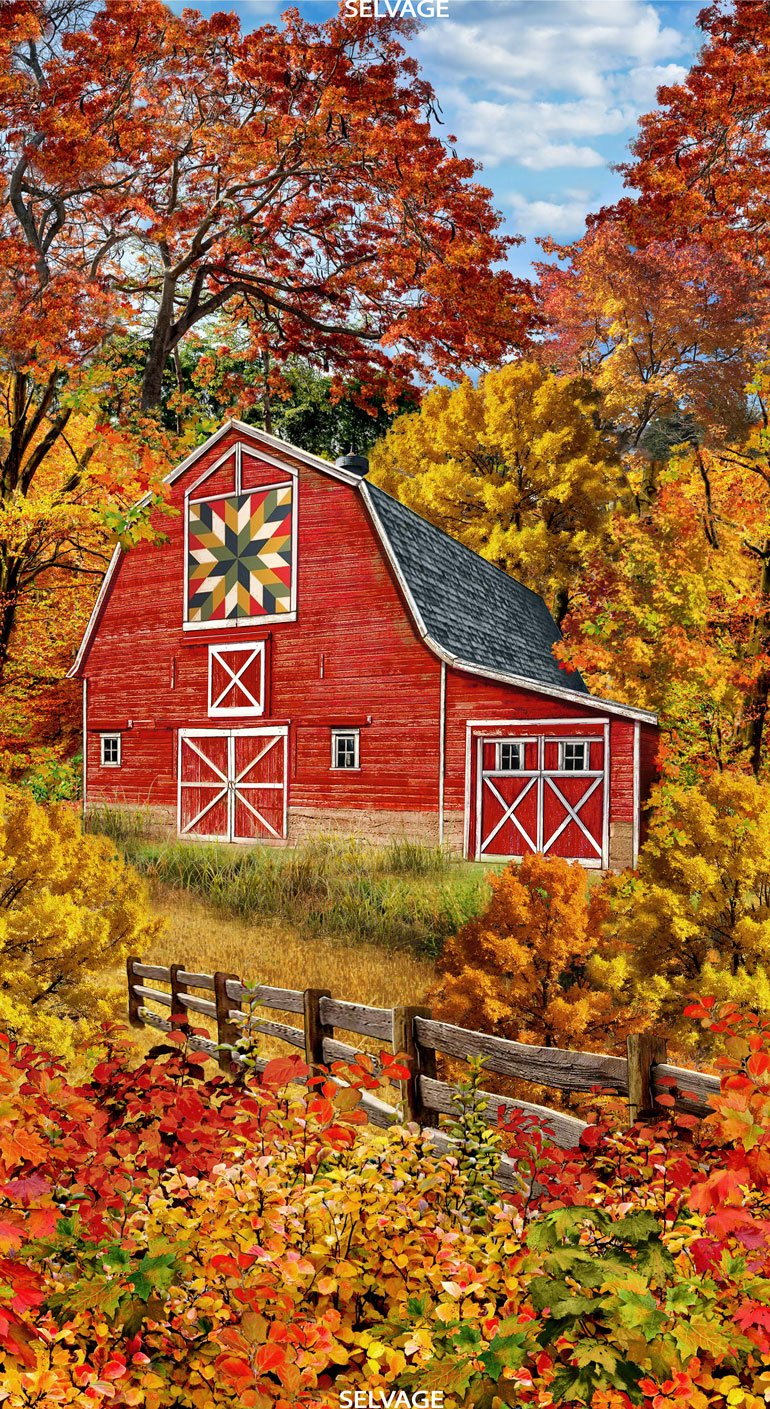 Autumn Barn Panel by Timeless Treasures Panel-C7093 Fall