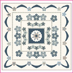 Azure Rose, English Paper Piecing Quilt Pattern by Sue Daley Designs