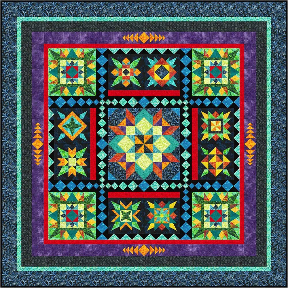 Black Jewels Block of the Month or all at once fabrics by Anthology Fabrics