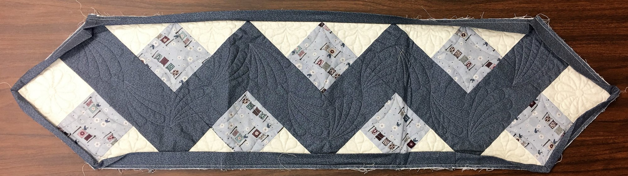 Blue Zig-Zag - Quilted, Unbinded, Table Runner