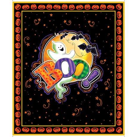 Tricks & Treats, Boo Panel by Gina Jean Lee for QT Fabrics 28341-5 Black