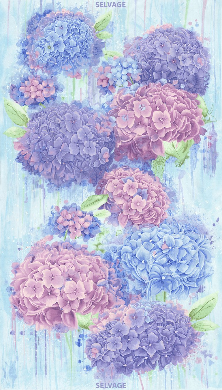 Harmony, Hydrangea Fabric Panel 24in by Chong-a Hwang for Timeless Treasures : C5220-Sky