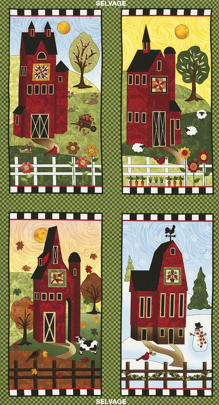 Skinny Barns, 24 Fabric Panel by Debra Gabel for Timeless Treasures : C5234-green1