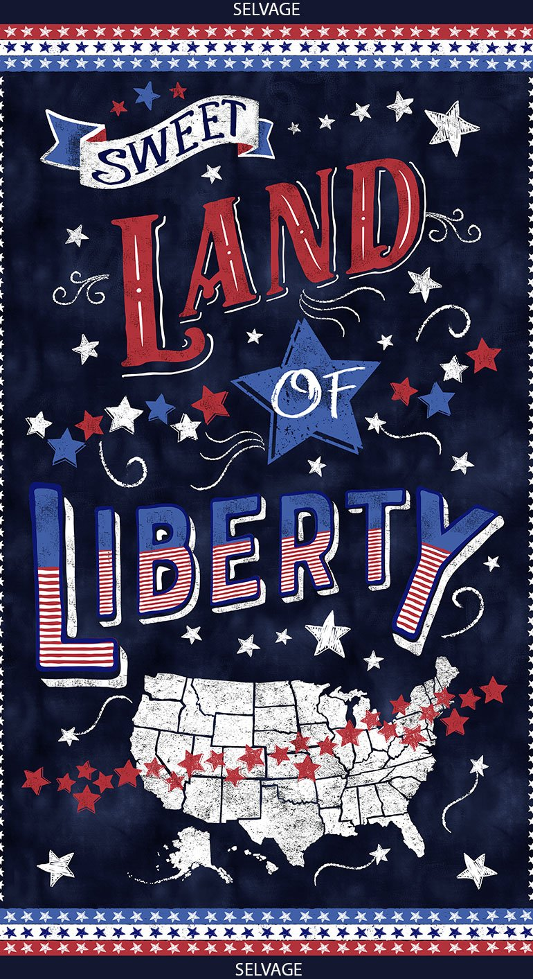 American Pride, Sweet Land of Liberty, Fabric Panel 24in by Timeless Treasures : C6457