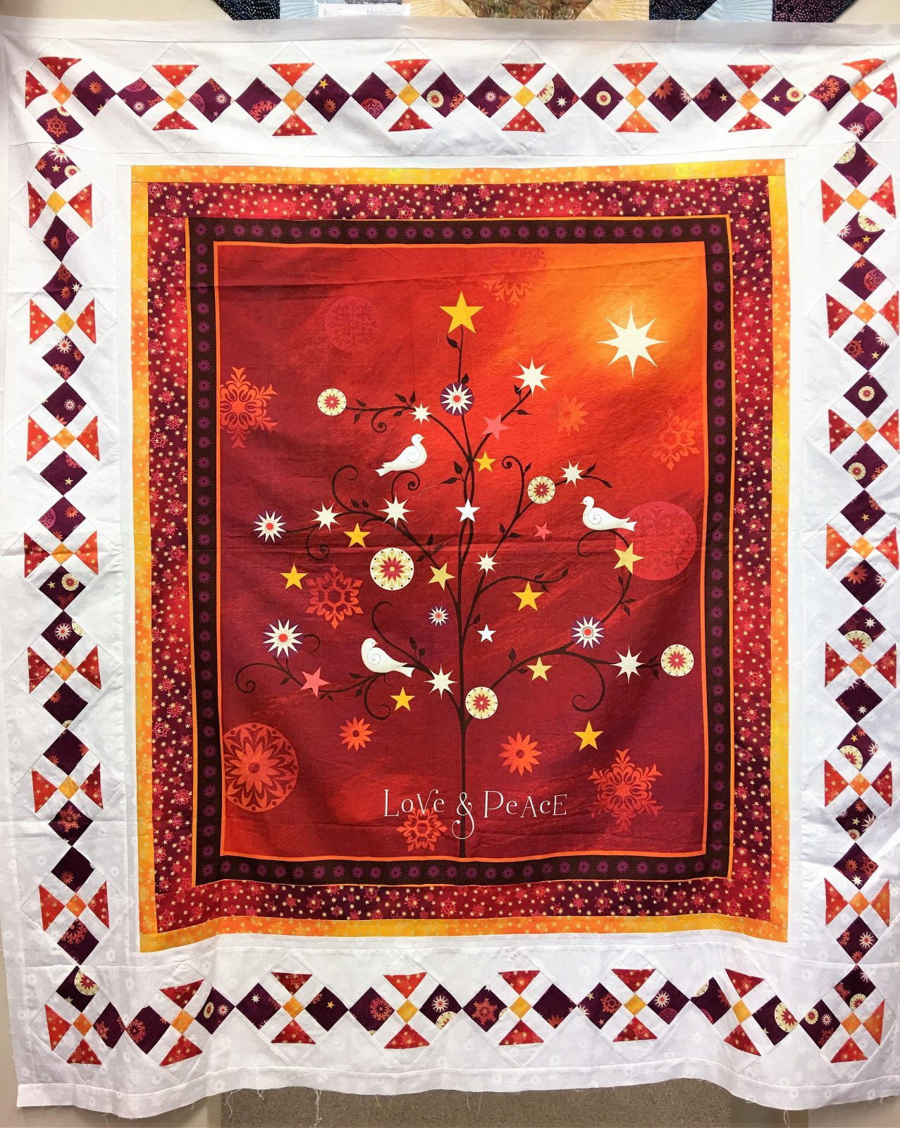 Christmas Birds - Unquilted Pieced Panel Quilt