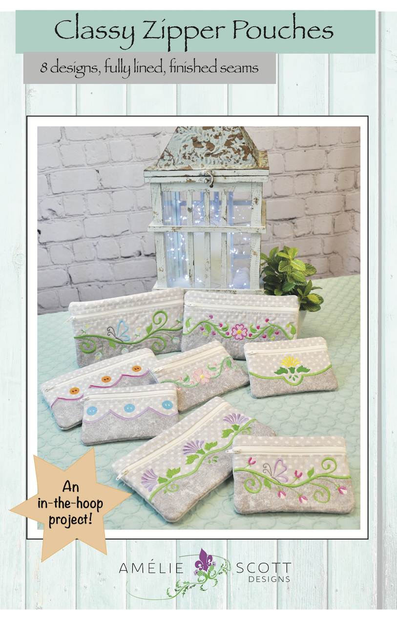 Classic Zipper Pouches in the hoop machine embroidery by Amelie Scott Designs ASD225