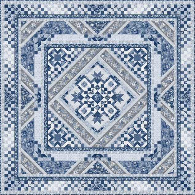 Courtyard Block of the Month or All At Once quilt kit by Kaye England for Wilmington Fabrics