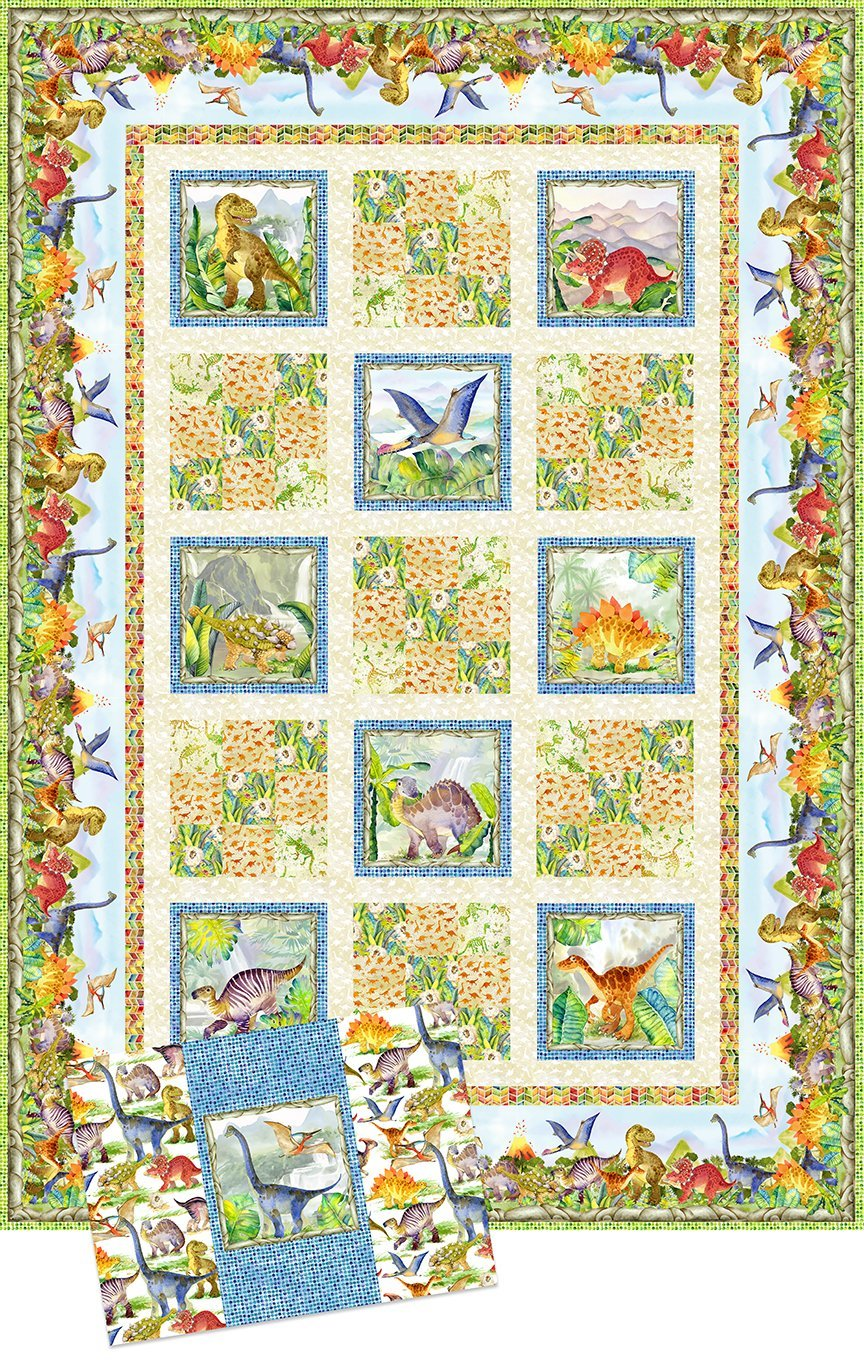 Dinosaur Friends Quilt and Pillow Case fabric kit by In The Beginning Fabrics ITBDINP