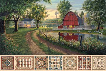 Heritage Quilting, Digital Print Fabric Panel by Kim Norlien for Northcott : DP21927-12