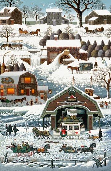 Winter Village, Digital Print Panel by Charles Wysocki for Northcott : DP22373-10