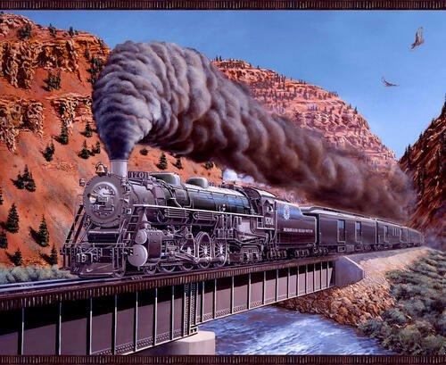 Express Track, Train Panel by Marc Desobeau for QT Fabrics 1304P-39 Brown
