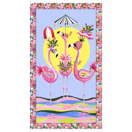Flamingo Fantastico-Flamingo Panel Multi by QT Fabrics 1649 27382 X