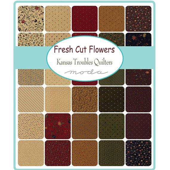 Fresh Cut Flowers, Fat Eighth 9x22 Bundle by Kansas Troubles for Moda : 9560F8