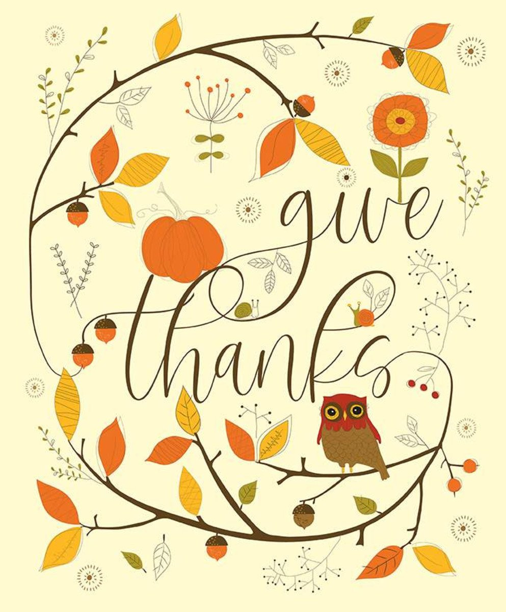 Give Thanks fabric panel by Sandy Gervais for Riley Blake Fabrics P9527 Cream