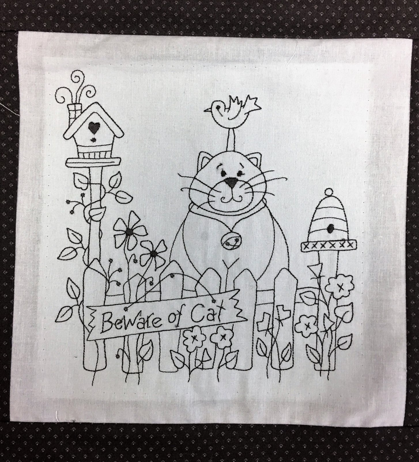 Grey Cats - Unquilted Embroidered Panel Wall Hanging Quilt Top
