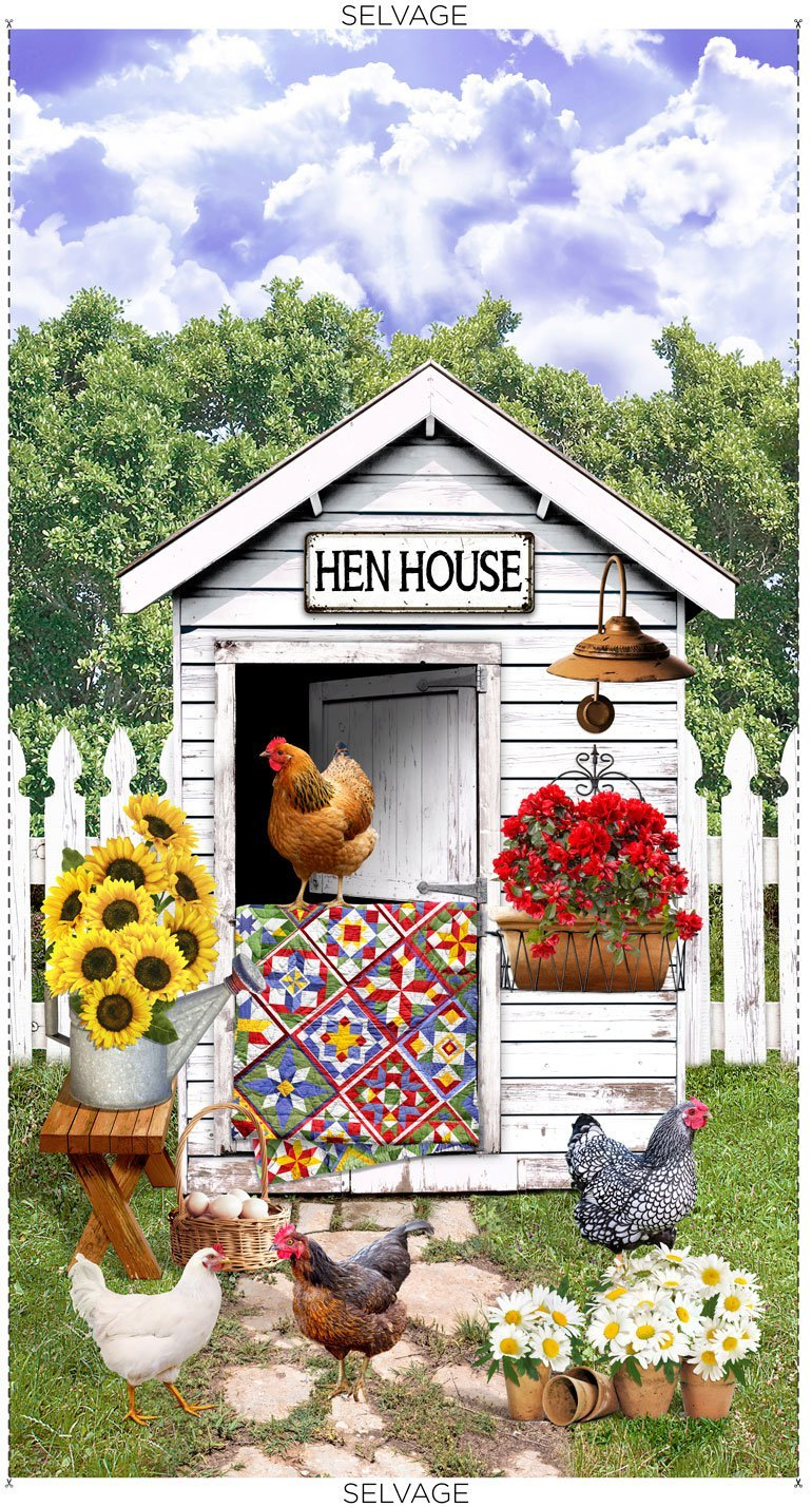 Hen House Panel by Timeless Treasures Panel-C8779-Multi