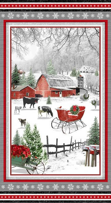 Holiday Homestead fabric panel by Henry Glass 1611P-89 Red/Gray