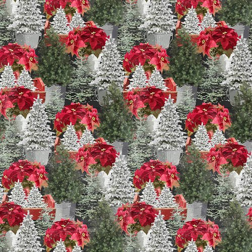 Holiday Homestead Poinsettias fabric by Henry Glass 1620-66 Multi