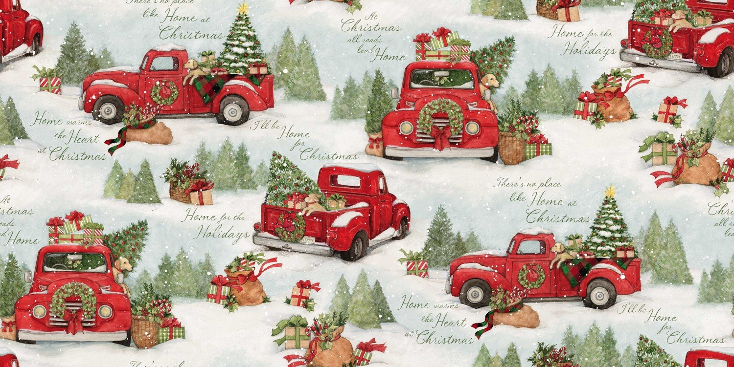Home for Christmas Red Truck fabric by Susan Winget for