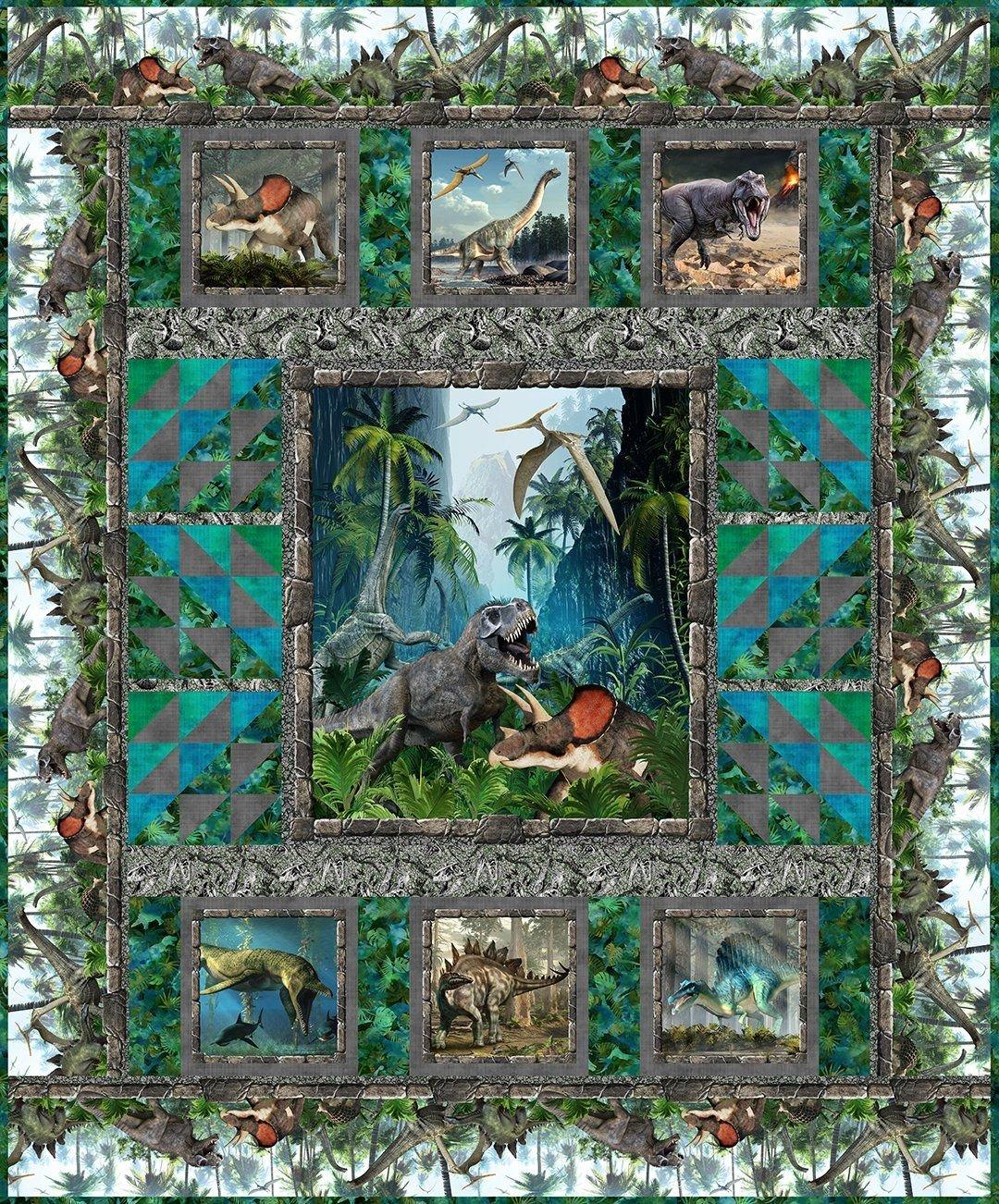 Jurassic Park fabric and pattern kit by Jason Yentler for In the Beginning Fabrics KIT-IBFJUR