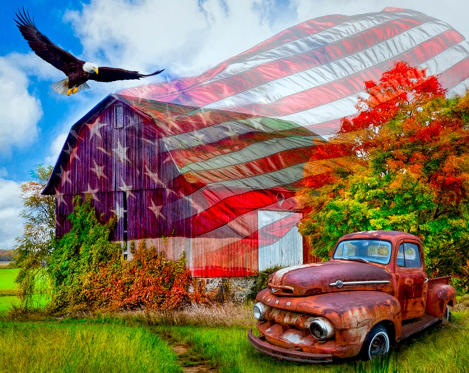 Land of Liberty, Truck, Barn and Eagle 36 panel by David Textiles AL-3881-OC