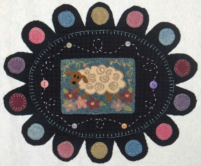 Leaping Lamb, Punchneedle Embroidery and Felted Wool Applique by Christine Baker for Fairfield Road Designs : 1308