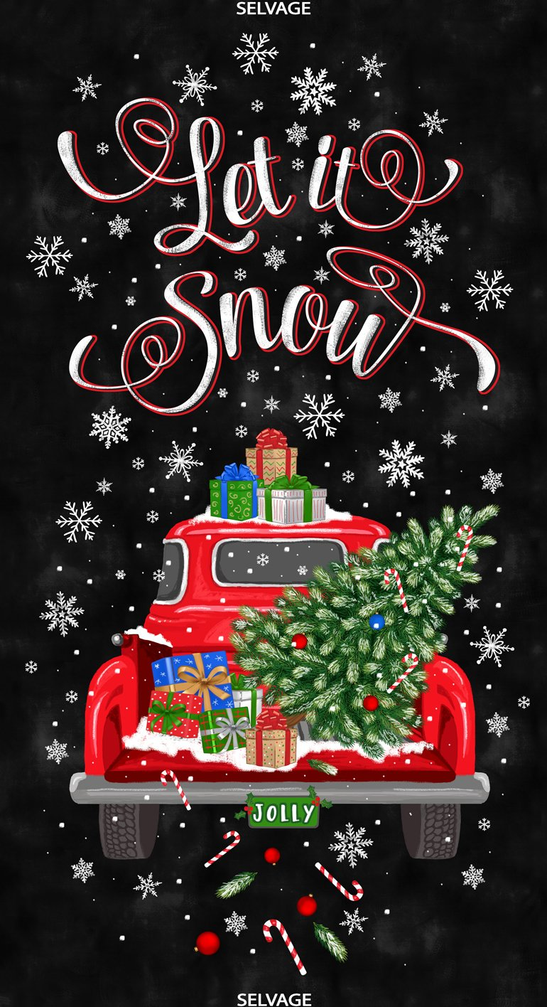 Let It Snow red truck panel by Timeless Treasures PanelGC-C6883 Black