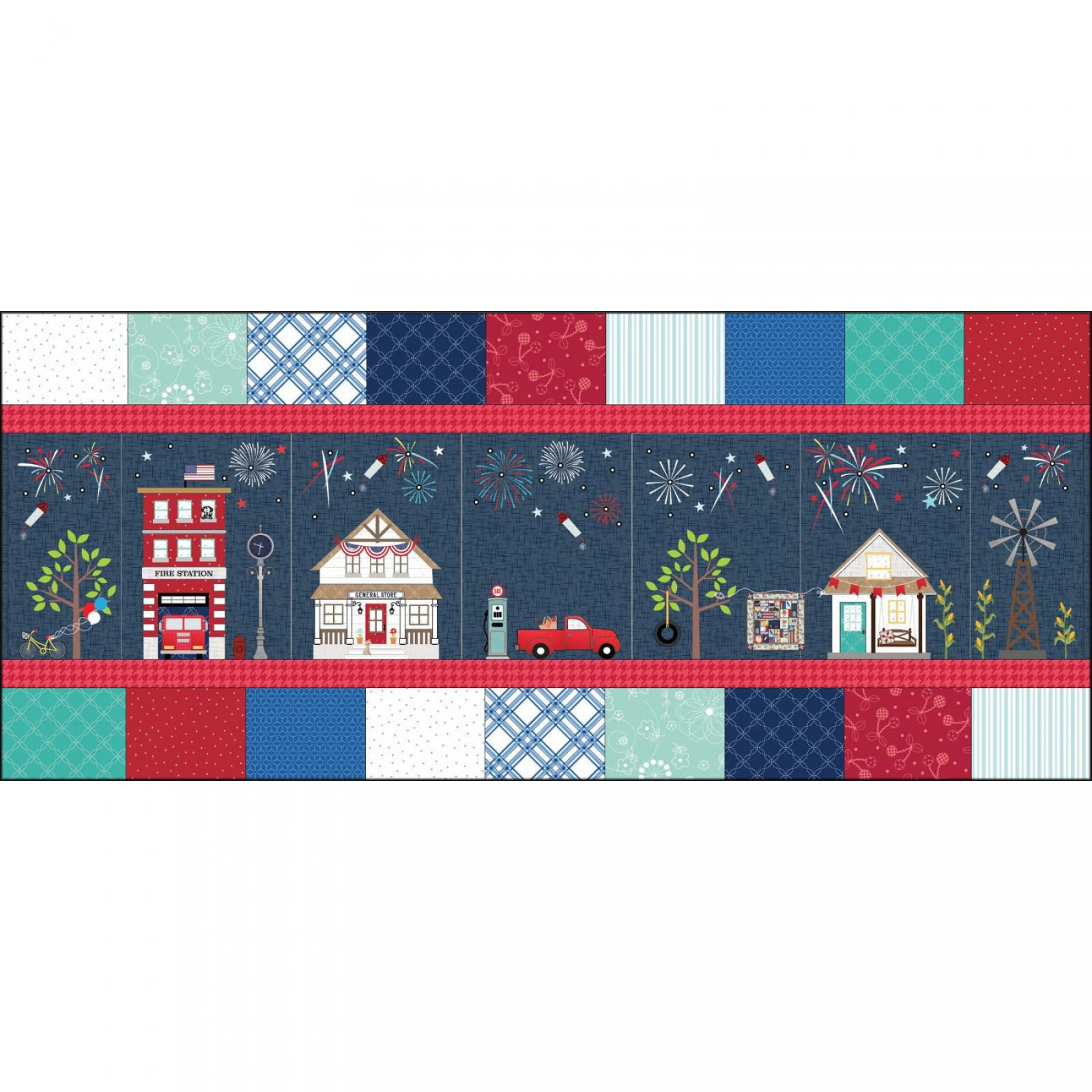 Kimberbell Main Street Celebration Bench Pillow Fabric Kit for Maywood Studio KIT-MASMSC