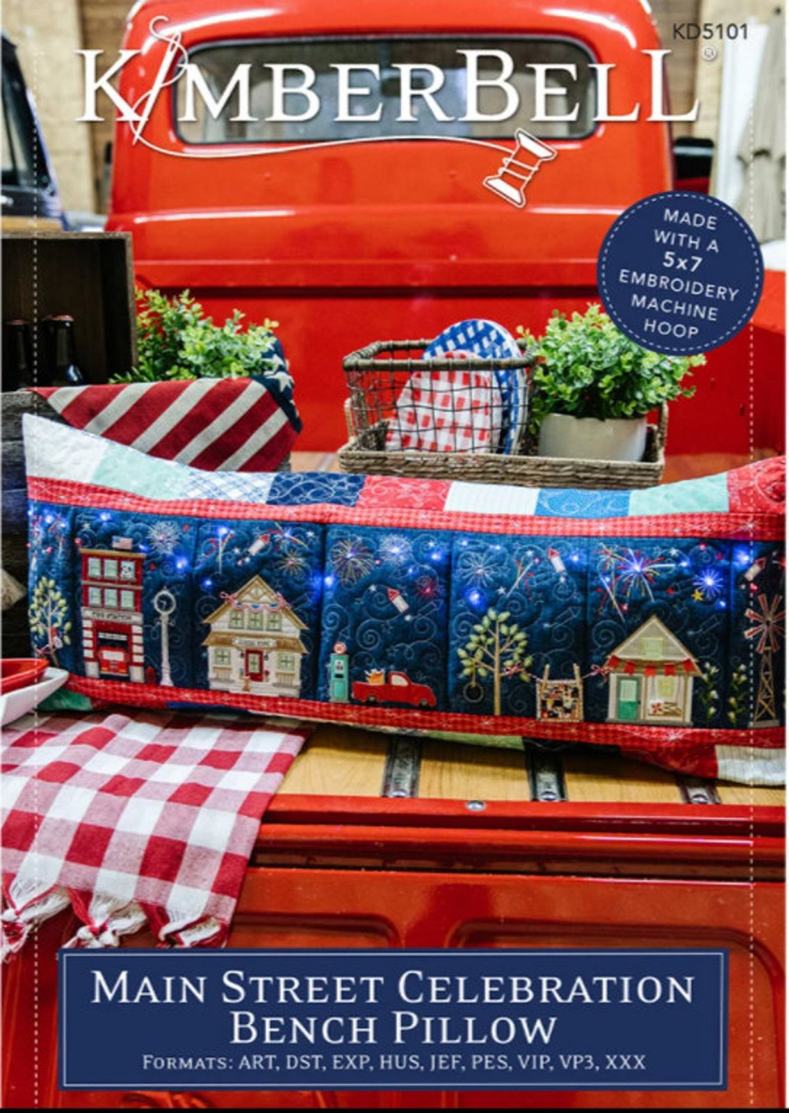Main Street Celebration Bench Pillow machine embroidery CD by Kimberbell KD5101