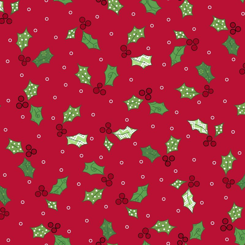 Jingle All The Way, Holly and Berries Red by Maywood Studio : MAS8248-R