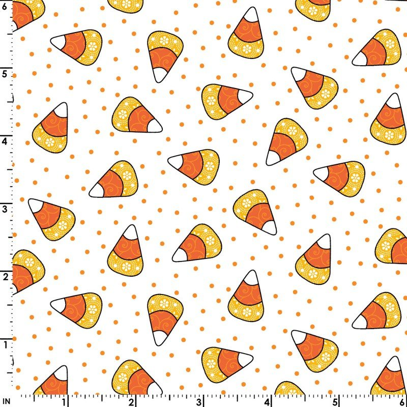 Broomhilda's Bakery, Candy Corn Dots by Kim Christopherson for Maywood Studio : MAS9112-W