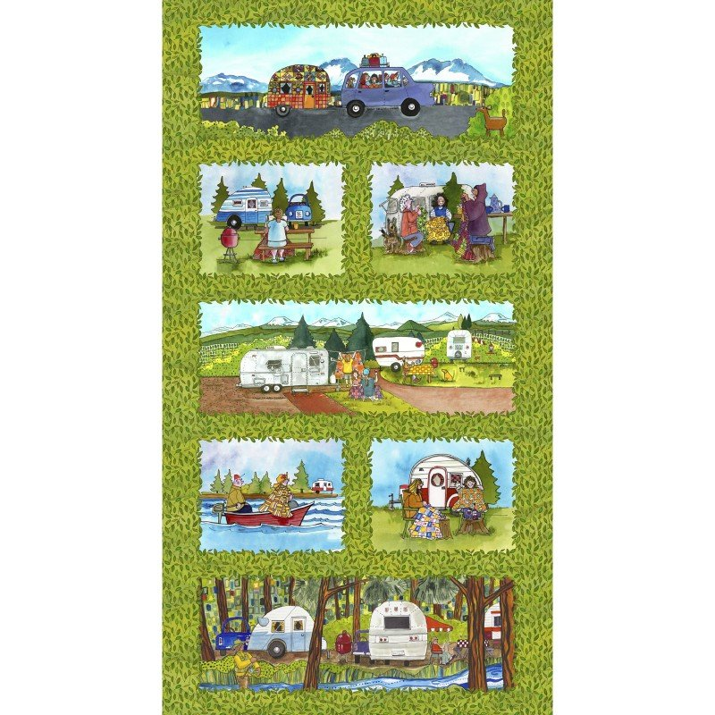 Quilter's Road Trip, Fabric Panel 24in by Kathy Deggendorfer for Maywood Studio : MASD9190-Z