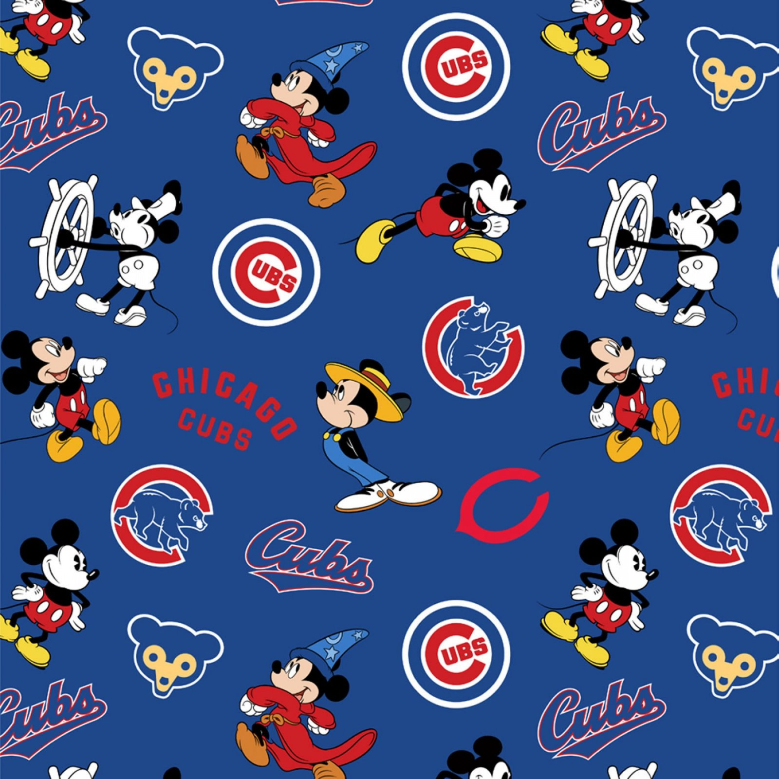 M.L.B.  Chicago Cubs Disney Mickey fabric MLBD60282-B