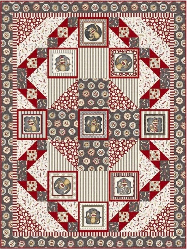 Monkey Around Quilt Kit, by Pine Tree Country Quilts for QT Fabrics KIT 4030A