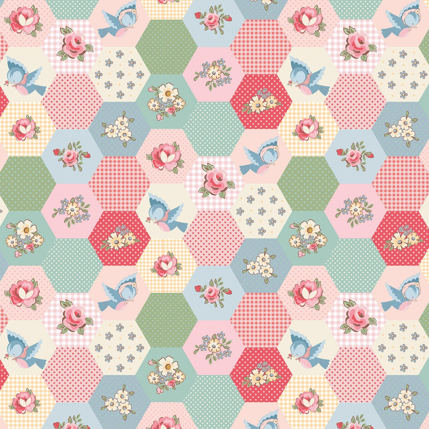Dots and Posies Birds & Hexies Multi fabric by Poppie Cotton DP20421