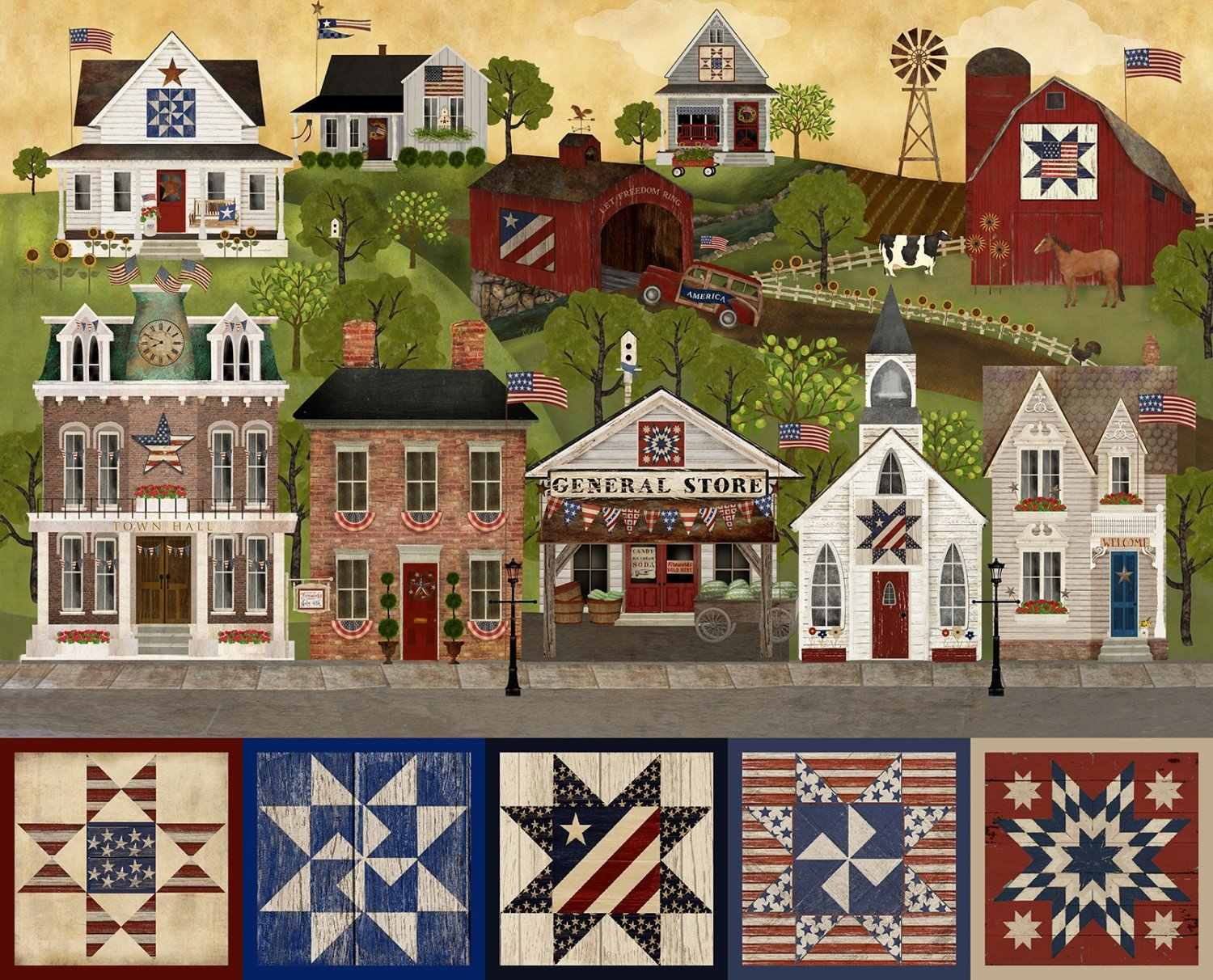 Multi Patriotic Summer 34 Panel by Beth Albert for 3 Wishes Fabrics 17346-MLT