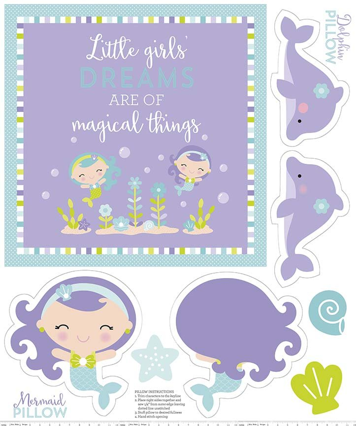 Under the Sea, 36 Fabric Panel by Doodlebug Designs for Riley Blake Fabrics : P5967-purple