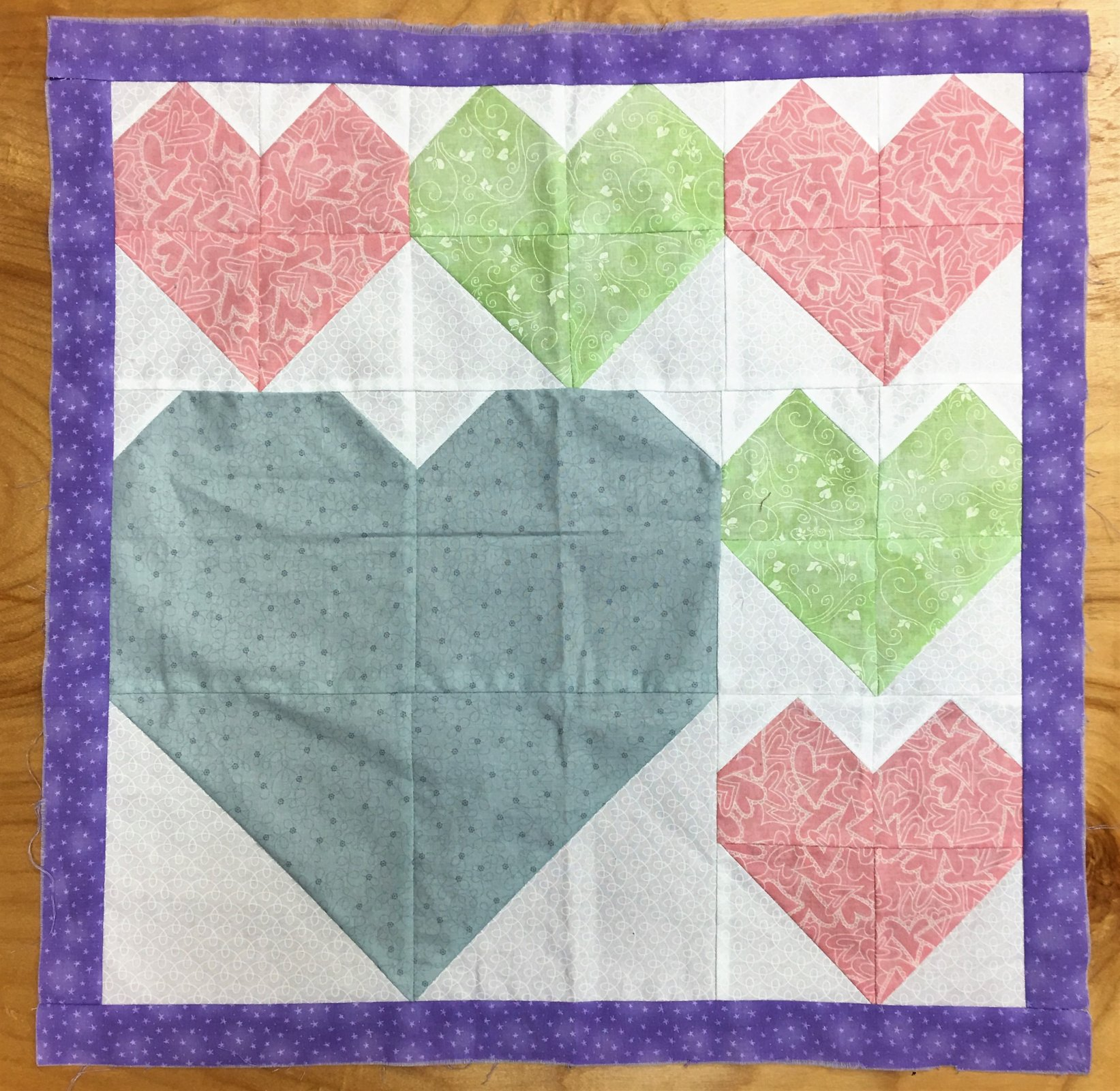 Pastel Hearts - Unquilted Pieced Quilt Top