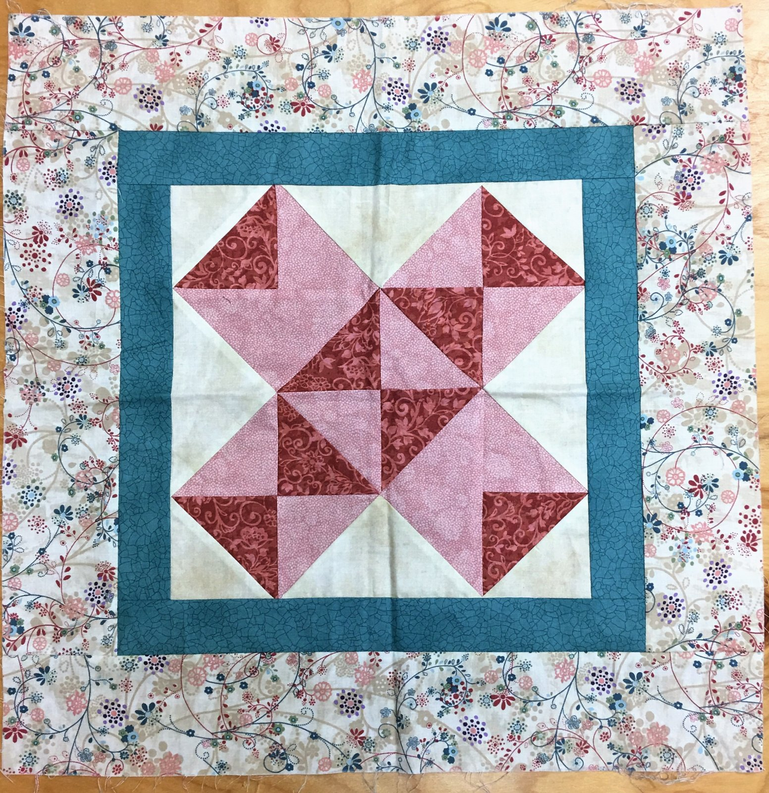 Pink Cross Block - Unquilted Pieced Quilt Block