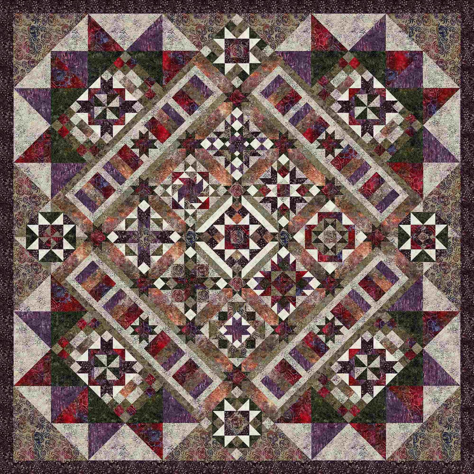 Plum Fusion Block of the Month or All At Once kit by Wing and A Prayer and Timeless Treasures
