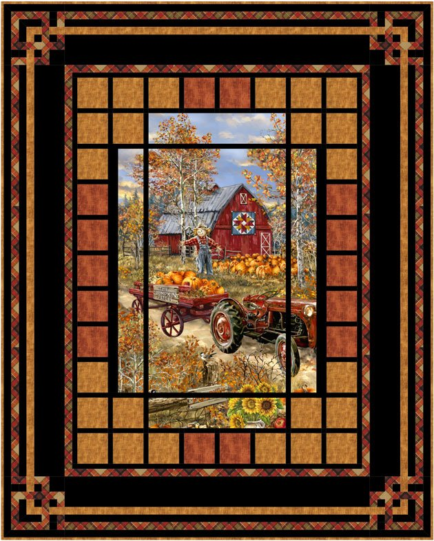 Pumpkin Patch fabric kit by Timeless Treasures and Pine Tree Country Quilts