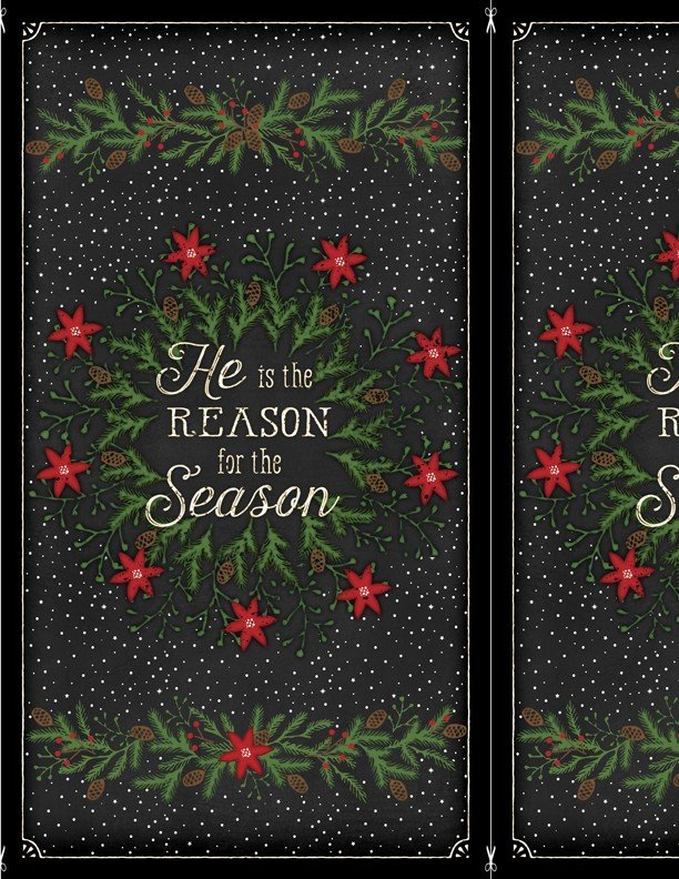 Reason for the Season, Fabric Panel by Jennifer Pugh for Wilmington Prints : Q1828-82478-917