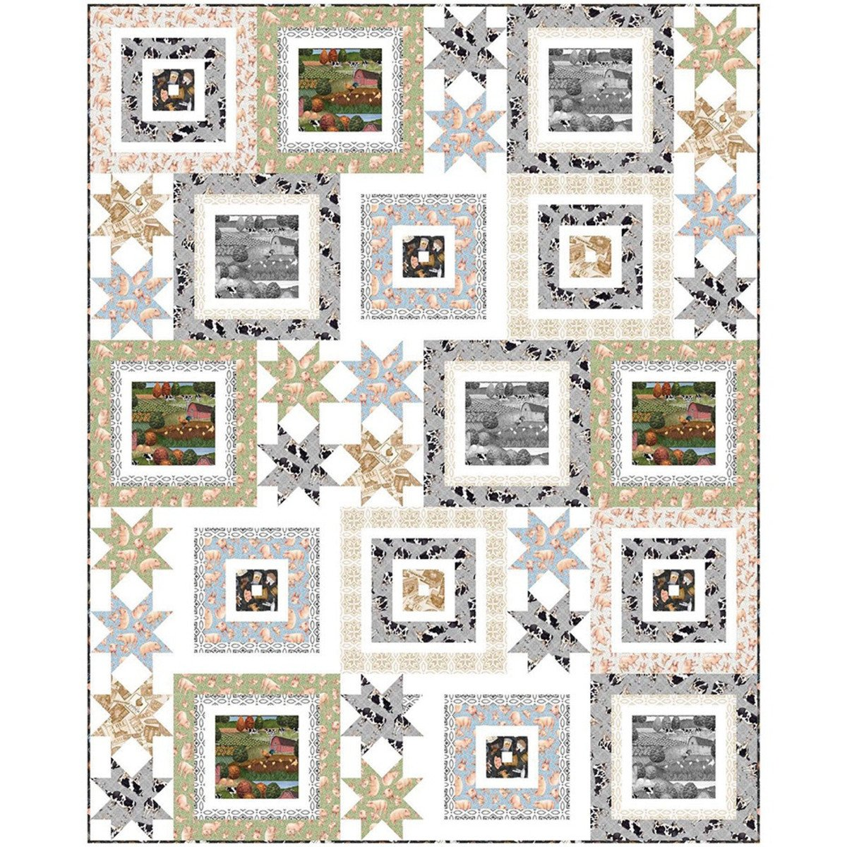 Greener Pasture fabric quilt kit by Wendy Sheppard for QT Fabrics KIT 3970B