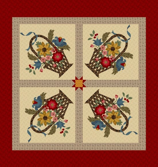 Baltimore House Panel, Fabric Panel by Paula Barnes for Marcus Fabrics : R22-8338-0111