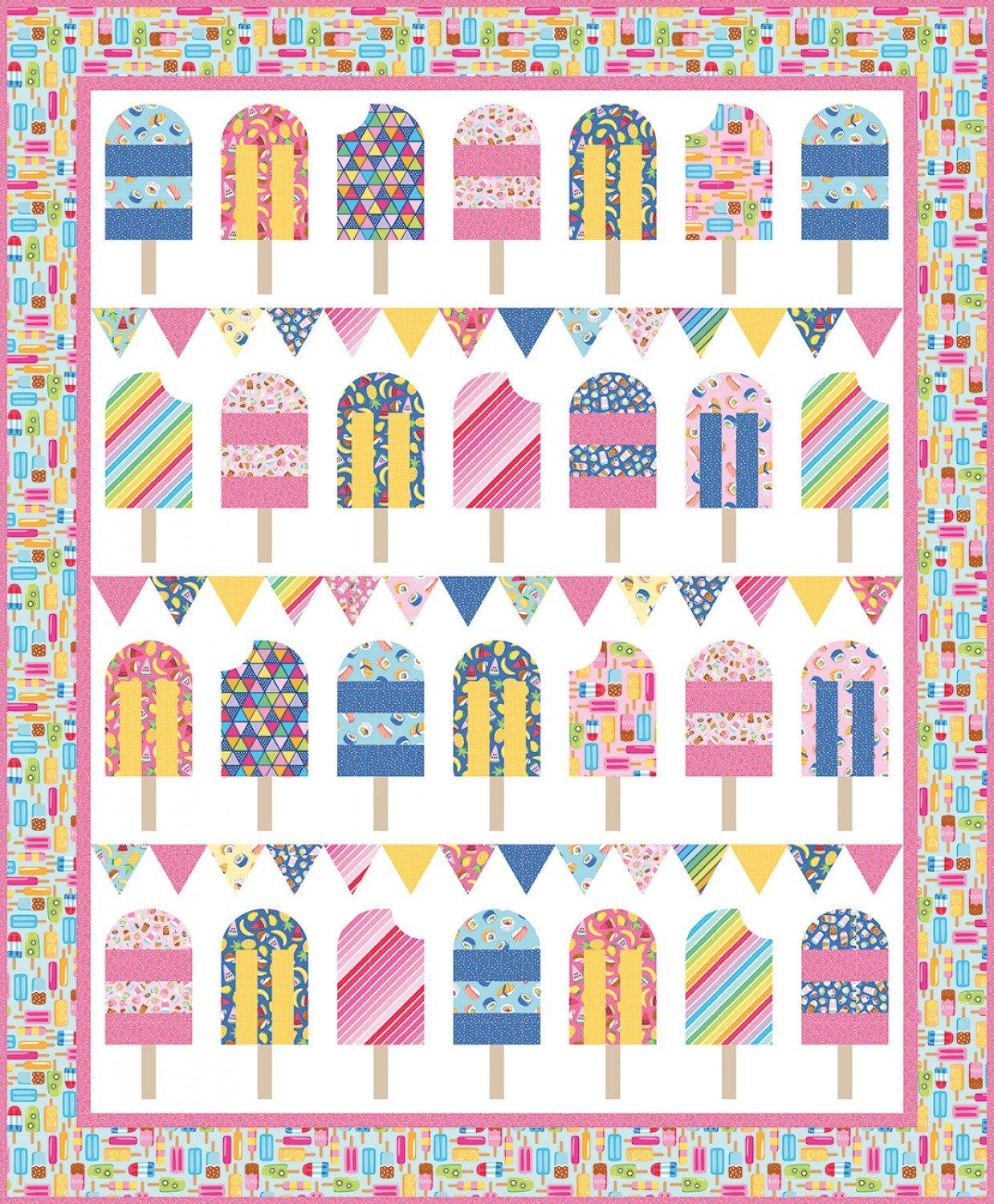 Rainbowfruit Popsicle Parade Quilt Kit by Amber Damask for Riley Blake Designs KTB-10890