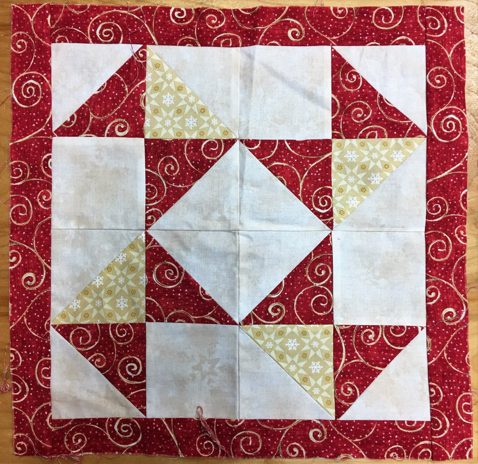 Red Block - Unquilted Pieced Block