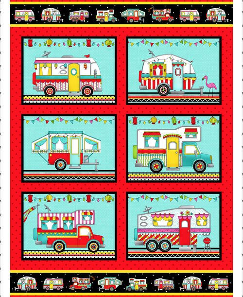 Roamin' Holiday Camper Panel by Pam Bocko for Studio E Fabrics 5511P-89