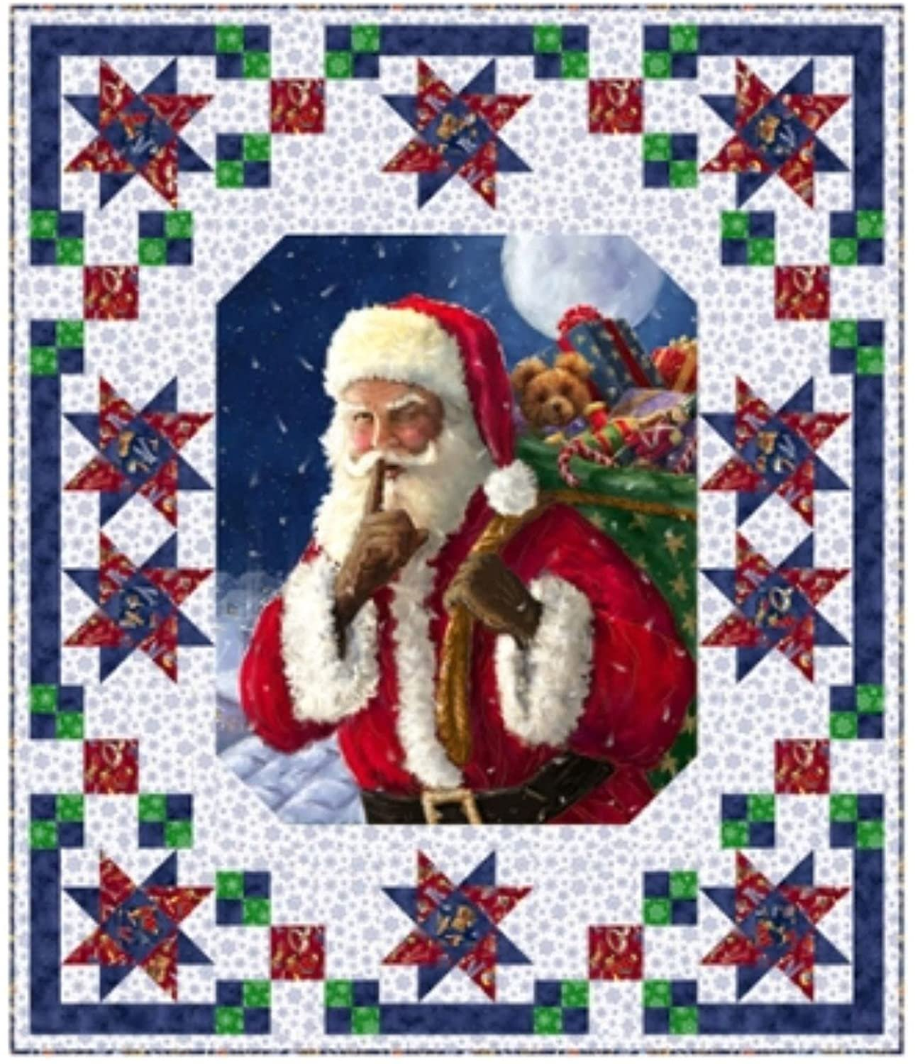 Santa Stars Quilt kit by Pine Tree Country Quilts for QT Fabrics KIT 4012A