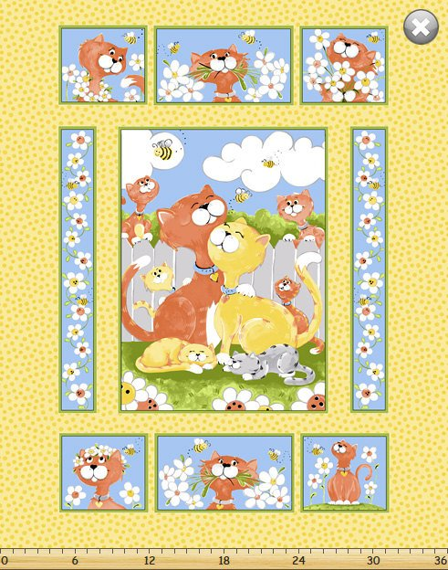 Purrl the Cat, Fabric Panel 36in by Susybee Fabrics : SB20246