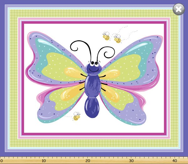 Flutter, The Butterfly, Fabric Panel by Susybee Fabrics : SB20269